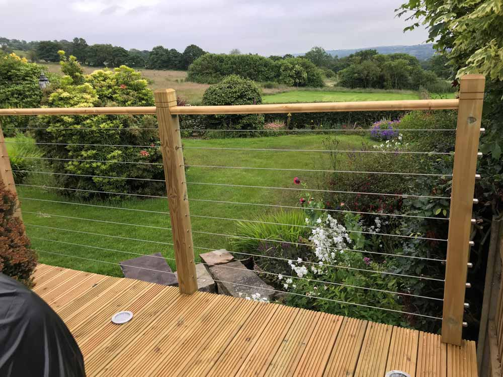 Stylish Corrosion resistant Stainless Steel wire and cable fence kits designed to preserve those picturesque views on your outdoor decking balconies