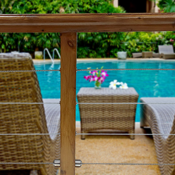 Easy to install 4mm Stainless Steel marine grade cable fence kits, creating contemporary, stylish fencing perimeters for around your pool or garden.